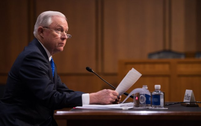 Attorney General Jeff Sessions testifies during a judiciary department oversight hearing before the Senate Judiciary Committee on Capitol Hill in Washington, D.C. on October 18, 2017. Sessions answered questions on the firing of former FBI Director Comey, the Russian involvement in the 2016 elections, DACA action, but said he would not discuss personal conversations he had with President Trump. Photo by Kevin Dietsch/UPI