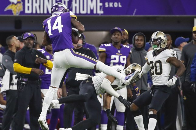 Minnesota Vikings wide receiver Stefon Diggs (L) catches a touchdown pass against New Orleans Saints free safety Marcus Williams (C) in the second half of the NFC Divisional round playoff game at U.S. Bank Stadium in Minneapolis on January 14, 2018. Photo by Kamil Krzaczynski/UPI