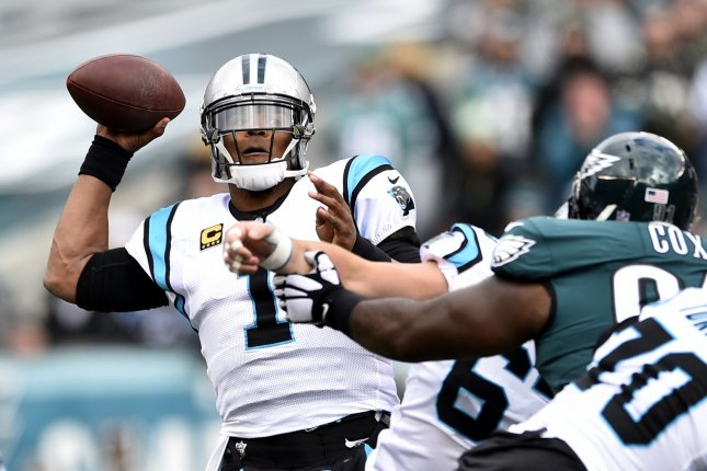 Carolina Panthers quarterback Cam Newton throws the ball during a game against the Philadelphia Eagles at Lincoln Financial Field on October 21, 2018. Photo by Derik Hamilton/UPI
