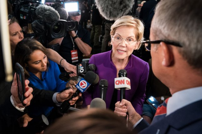 Democratic presidential candidate Elizabeth Warren speaks to reporters following the first night of the party's first debates on June 26 in Miami, Fla. Photo by Kevin Dietsch/UPI