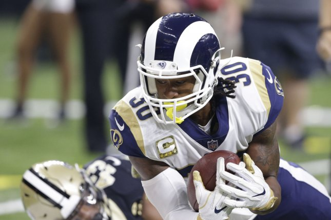 Los Angeles Rams running back Todd Gurley was placed on a strict schedule throughout training camp after inflammation and knee soreness limited him at the end of last season. File Photo by AJ Sisco/UPI