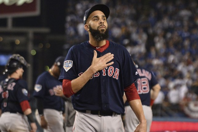 Former Boston Red Sox pitcher David Price joined the Los Angeles Dodgers after a five-player trade in February. File Photo by Jim Ruymen/UPI