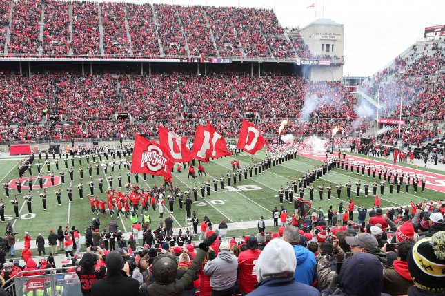 The Ohio State Buckeyes take the field against the Maryland Terrapins at Ohio Stadium in Columbus, Ohio, on November 9, 2019. File Photo by Aaron Josefczyk/UPI