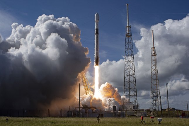 A SpaceX Falcon 9 rocket launches the SXM 7 satellite at 12:30 p.m. for SiriusXM from Complex 40 at the Cape Canaveral Space Force Station, Florida on Sunday. Photo by Joe Marino/UPI