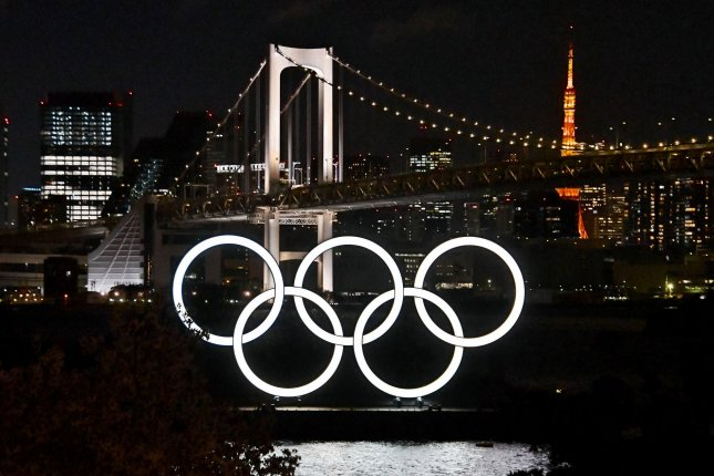 The Olympic rings are seen at Odaiba Marine Park in Tokyo on March 27. The Tokyo Olympics organizing committee said international spectators won't be allowed to attend this summer's Games. File Photo by Keizo Mori/UPI