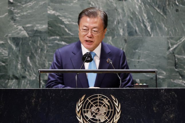South Korean President Moon Jae-in speaks at the SDG Moment sustainable development event as part of the U.N. General Assembly 76th Session in New York on Monday. Photo by John Angelillo/UPI