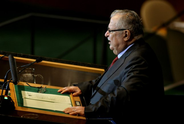 Iraqi President Jalal Talabani addresses the 66th session of the U.N. General Assembly on Sept. 23, 2011. Talabani, 79, was hospitalized Tuesday with what his office says was fatigue although there were reports he had suffered a strokes. UPI/Monika Graff