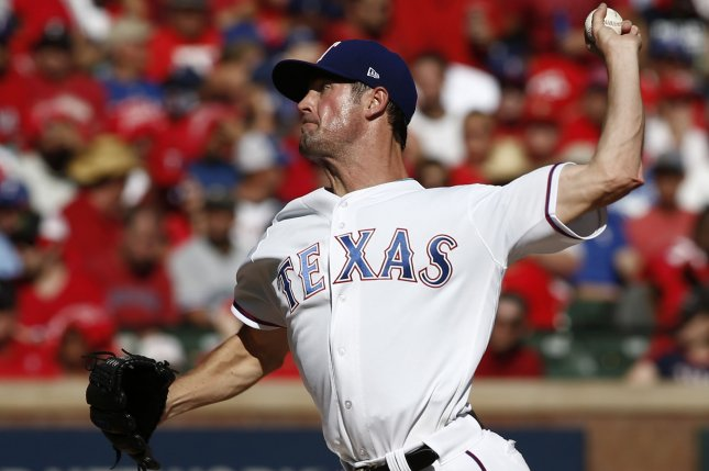 Texas Rangers starting pitcher Cole Hamels. File photo by Mike Stone/UPI