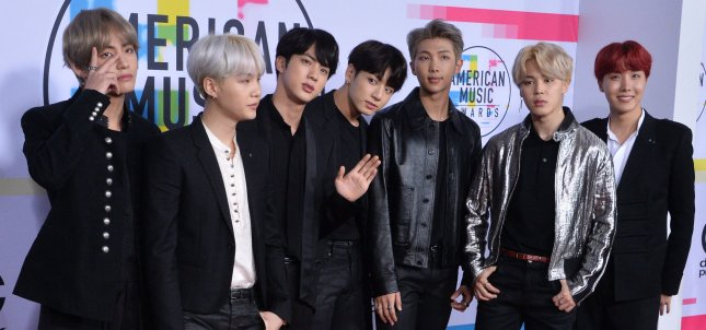 BTS passed 100 million views on YouTube with its Idol music video. File Photo by Jim Ruymen/UPI