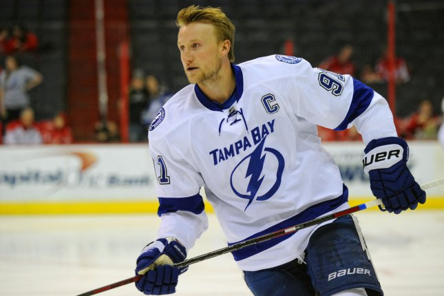Steven Stamkos and the Tampa Bay Lightning take on the Detroit Red Wings on Thursday. Photo by Mark Goldman/UPI