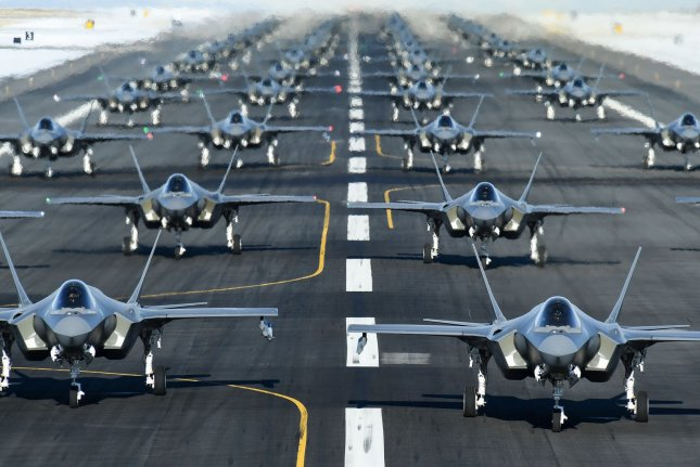 The active-duty 388th and Reserve 419th Fighter Wings conducted an F-35A Combat Power Exercise at Hill Air Force Base, Utah, Monday, launched 52 of the aircraft in a condensed period of time. Photo by R. Nial Bradshaw/U.S. Air Force/UPI
