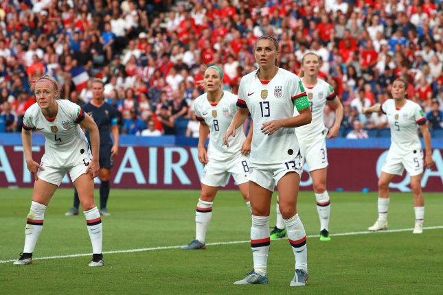 Becky Sauerbrunn (4), Julie Ertz (8), Alex Morgan (13), Sam Mewis (3) and Kelley O'Hara (5) are among the soccer stars included in an equal pay lawsuit against the United States Soccer Federation. File Photo by David Silpa/UPI