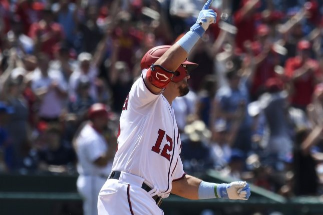 Washington Nationals left fielder Kyle Schwarber rounds the bases after hitting a home run against the New York Mets in the seventh inning Sunday at Nationals Park in Washington, D.C. Photo by Caroline Brehman/UPI