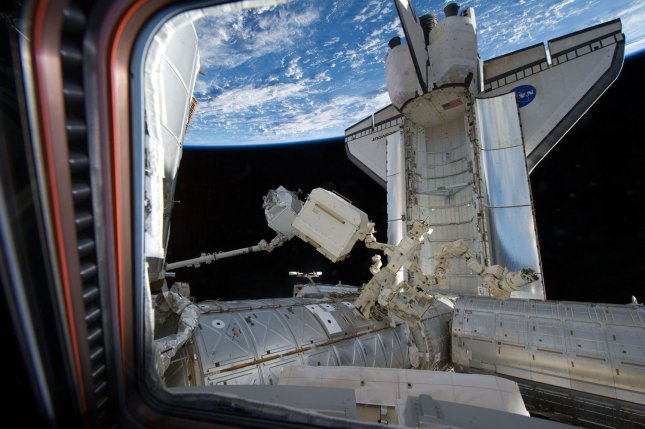 This NASA photo taken by crew members on the International Space Station on May 19, 2011 shows space shuttle Endeavour as it is docked with the station. Endeavour and her crew of 13 are on NASA mission STS-134 a service mission to the International Space Station. UPI/Kevin Dietsch