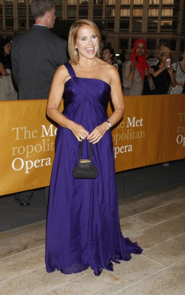 Katie Couric arrives for the Metropolitan Opera Season Opening with their new production of Donizetti's Anna Bolena at the Metropolitan Opera House at Lincoln Center in New York on September 26, 2011. UPI /Laura Cavanaugh