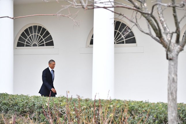 Former President Barack Obama walks along the White House Colonnade as he leaves for the final time as commander in-chief on January 20. Friday, Obama was ranked as the 12th greatest president in American history by C-SPAN's 2017 Presidential Leadership Survey -- a comprehensive review of past administrations by a panel of 91 historians and scholars. Photo by Kevin Dietsch/UPI