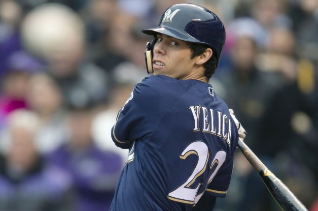 Milwaukee Brewers right fielder Christian Yelich was 2-for-4 in a loss to the Los Angeles Angels on Monday in Anaheim. File Photo by Gary C. Caskey/UPI