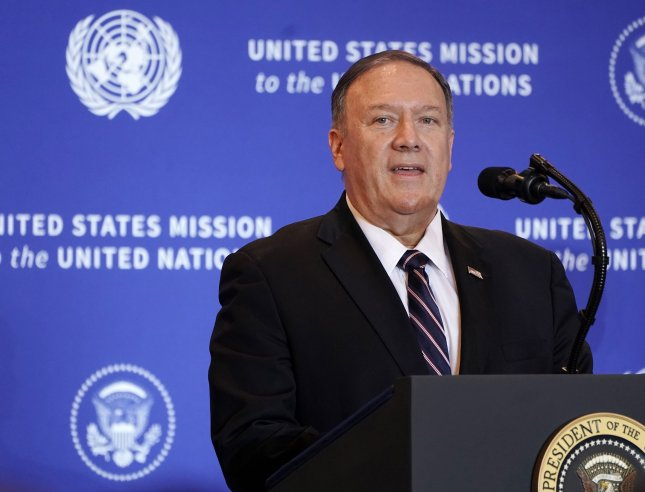 On the sidelines of the U.N General Assembly Wednesday, U.S. Secretary of State Michael Pompeo announced sanctions against Chinese companies dealing in Iranian oil in a move to further cut Tehran off from outside funds. Photo by Jemal Countess/UPI