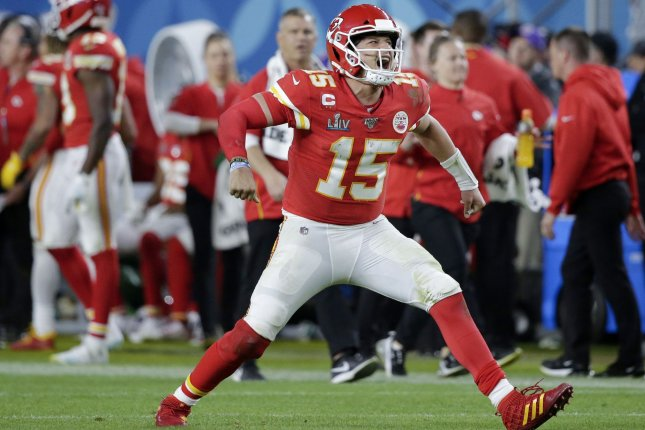 Phil Mickelson thinks Kansas City Chiefs quarterback Patrick Mahomes (15) could be a good fit to participate in a future version of The Match. File Photo by John Angelillo/UPI