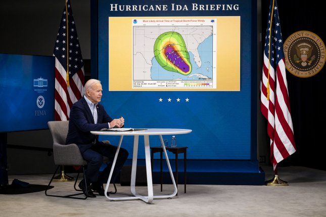 President Joe Biden delivers remarks in the White House South Court Auditorium while being briefed on the ongoing preparations for Hurricane Ida by FEMA Administrator Deanne Criswell on Saturday. Photo by Pete Marovich/UPI