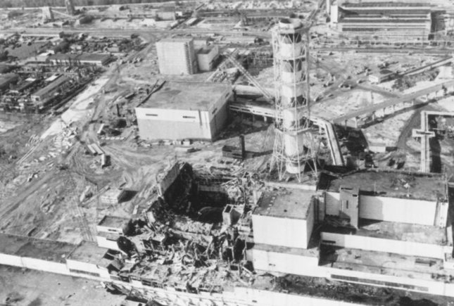 An aerial photograph of the damage caused to the Chernobyl Nuclear Power Plant, Ukraine, caused by an explosion on April 26, 1986. UPI/INS File Photo