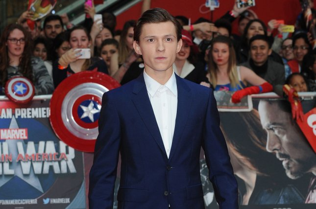 Tom Holland attends the U.K. Premiere of Captain America: Civil War at Westfield in London on April 26, 2016. Holland shared a selfie on social media from the set of Spider-Man: Homecoming. File Photo by Paul Treadway/UPI