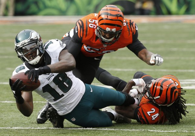 Dorial Green-Beckham of the Philadelphia Eagles is tackled in a game against the Cincinnati Bengals. Photo by John Sommers II/UPI