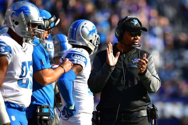 Detroit Lions head coach Jim Caldwell works against the Baltimore Ravens in the second quarter at M&T Bank Stadium on December 3, 2017 in Baltimore, Maryland. Photo by Kevin Dietsch/UPI