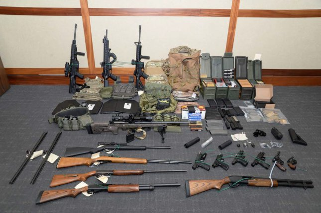 A cache of weapons, including 15 firearms and more than 1,000 rounds of ammunition, were found in the Silver Spring, Maryland, home of Lt. Christopher Paul Hasson, 49, of the U.S. Coast Guard. Photo courtesy U.S. Attorney's Office for the District of Maryland/UPI