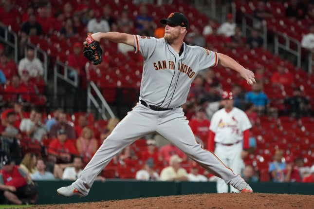 Former San Francisco Giants pitcher Will Smith signed a three-year, $39 million contract with the Atlanta Braves on Thursday. File Photo by Bill Greenblatt/UPI