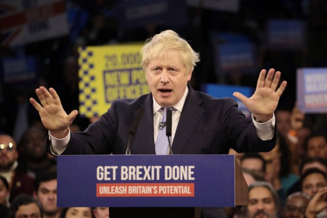 British Prime Minister Boris Johnson delivers his final rallying speech Wednesday before voting starts Thursday to determine who will be Britain's new prime minister. Photo by Hugo Philpott/UPI