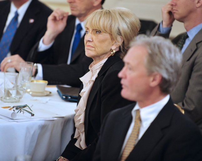 Arizona Republican Governor Jan Brewer listens as United States President Barack Obama makes remarks during a meeting with a bipartisan group of governors on Monday, February 28, 2010. UPI/Ron Sachs/Pool
