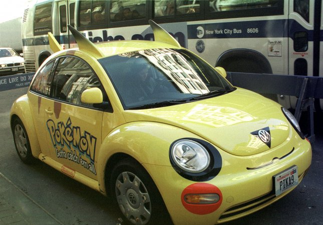 A Volkswagen drives through traffic to promote Pokemon outside of the International Toy Fair 2000 in New York City. Craigslist users in various states have begun to offer chauffeur services to players of the newly released Pokemon Go smartphone app. These Pokemon Go chauffeurs offer to drive players to points of interest known as pokestops or gyms, and some are offering to help users play the game.