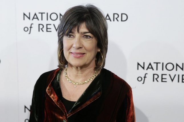 Christiane Amanpour arrives on the red carpet at the National Board of Review Annual Awards Gala at Cipriani 42nd Street in New York City on Tuesday. The journalist turns 60 on January 12. Photo by John Angelillo/UPI