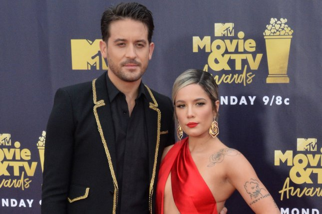 G-Eazy (L), pictured with Halsey, discussed his new projects with the singer prior to their split. File Photo by Jim Ruymen/UPI