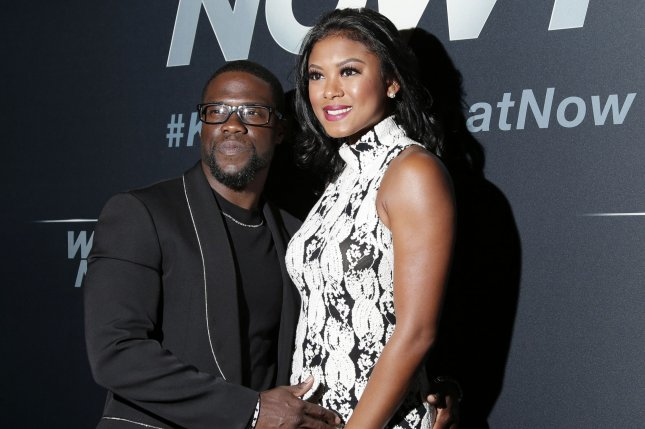 Kevin Hart (L), pictured with Eniko Parrish, dedicated a sweet post to Parrish on their wedding anniversary. File Photo by John Angelillo/UPI