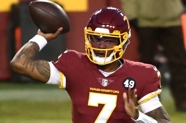 Washington Football Team quarterback Dwayne Haskins completed 60.1% of his passes for 2,804 yards, 12 touchdowns and 14 interceptions in 16 career games with the franchise. File Photo by Kevin Dietsch/UPI