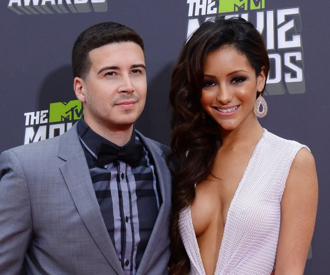 Vinny Guadagnino (L) -- seen here with Melanie Iglesias -- was eliminated from The Masked Dancer on Wednesday night. File Photo by Jim Ruymen/UPI