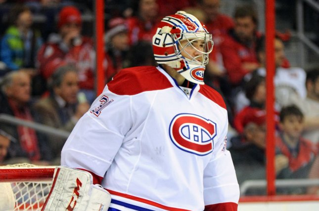 Montreal Canadiens goalie Carey Price, shown Jan. 24, 2013, had a 12-7-5 record with a 2.64 goals-against average and .901 save percentage last season. File Photo by Mark Goldman/UPI
