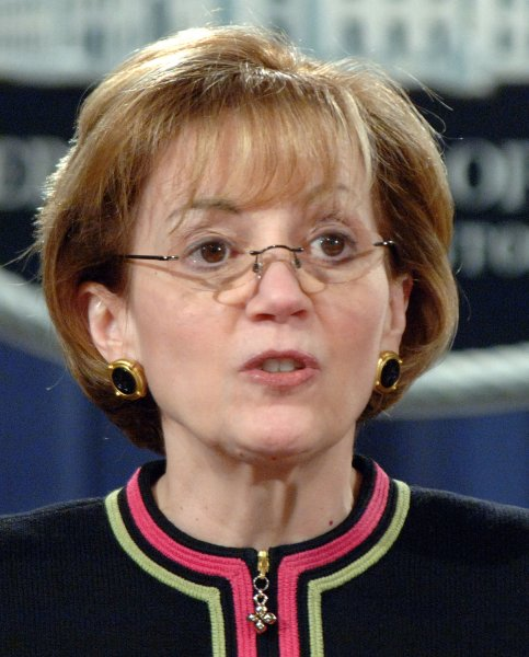 Anne Patterson, assistant secretary of state for INL, discusses the indictment of 50 FARC leaders during a news conference at the Justice Department in Washington on March 22, 2006. The Colombian rebel group has been linked with terrorism and cocaine smuggling. (UPI Photo/Roger L. Wollenberg)