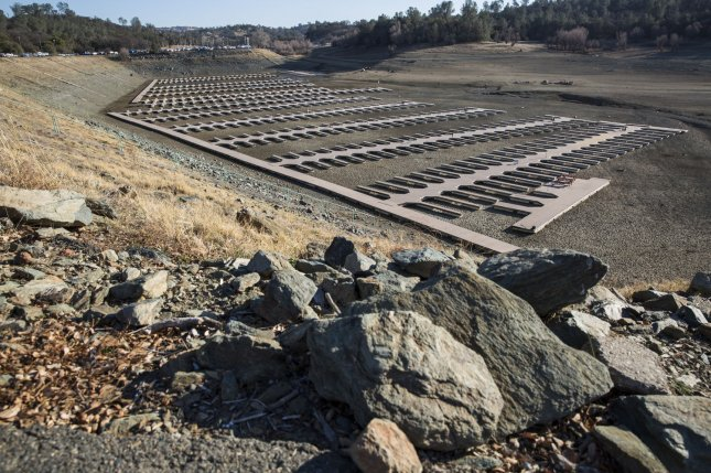 Folsom Lake Marina sit on part of the now dried up lake bed of Folsom Lake, which has experience historic low water levels, in Folsom, Calif., last year. NASA weather scientists say the worst is yet to come. File Photo by Ken James/UPI