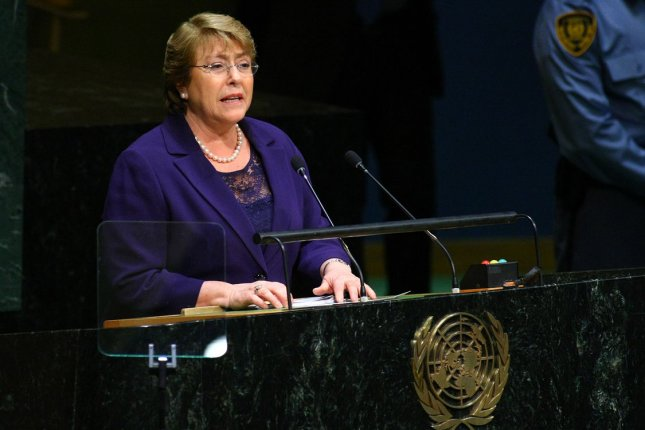 Chile's President Michelle Bachalet has a low approval rating of about 30 percent, due in part to the ongoing crisis surrounding the country's educational system. File Photo by Monika Graff/UPI