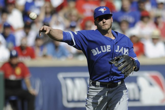 Toronto Blue Jays infielder Josh Donaldson throws out Texas Rangers Delino DeShields in the first inning of game 4 of the ALDS at Rangers Ballpark in Arlington, Texas on October 12, 2015. Photo by Michael Prengler/UPI