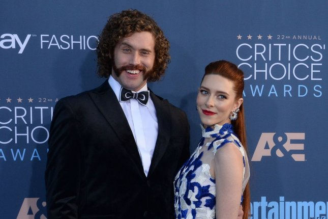 T.J.Miller (L) and actress Kate Gomey attend the 22nd annual Critics' Choice Awards on December 11. Miller has discussed why he exited Silicon Valley following Season 4. File Photo by Jim Ruymen/UPI