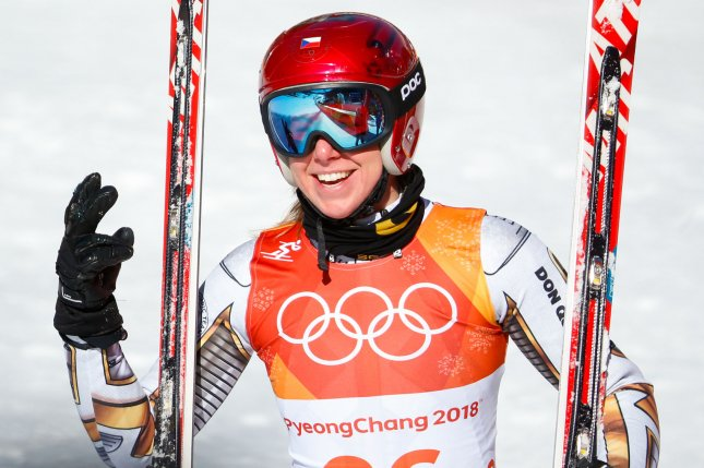 Ester Ledecka of the Czech Republic reacts after she crosses the finish line in the Ladies' Super G final at Jeongseon Alpine Center Saturday in Pyeongchang, South Korea. Photo by Matthew Healey/UPI