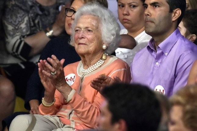 Former first lady Barbara Bush attends an event at the Theodore Gibson Health Center of Miami-Dade College, in Miami on June 15, 2015. Bush is said to be in good spirits after declining further medical care amid failing health. File Photo by Gary I Rothstein/UPI