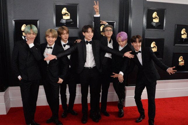 BTS arrives for the 61st annual Grammy Awards on February 10, 2019. The group won Artist of the Year and two prizes with their hit song, Fake Love, at this year's Korean Music Awards (KMA), Tuesday. Photo by Jim Ruymen/UPI