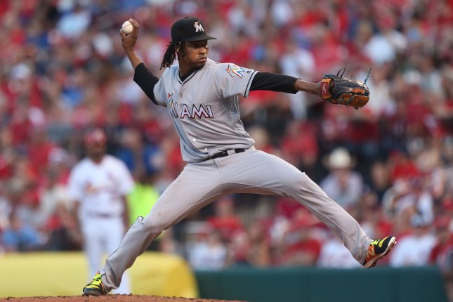 Miami Marlins starting pitcher Jose Urena is out for at least two months due to a herniated disk in his back. File Photo by Bill Greenblatt/UPI