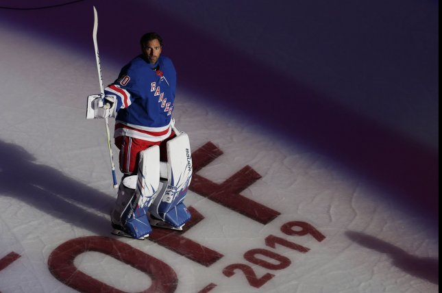 New York Rangers goalie Henrik Lundqvist, shown Oct. 3, 2019, ended his career with a 459-310-96 record over 887 games. File Photo by John Angelillo/UPI