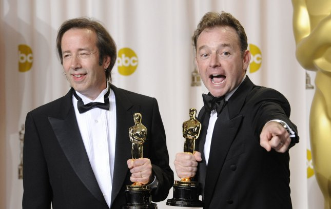 Philip Stockton and Eugene Gearty pose with their Oscar in Sound Editing for the film Hugo backstage during the 84th Academy Awards in the Hollywood section of Los Angeles on February 26, 2012. UPI/Phil McCarten